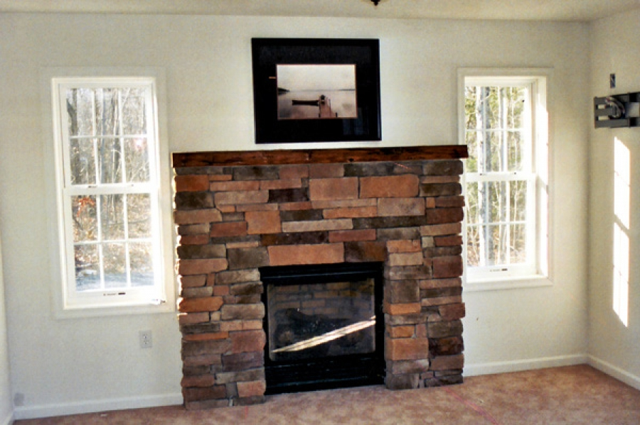 Stone Fireplace with Aged Mantle