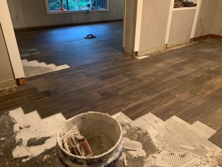 Budget friendly Tile floor and kitchen